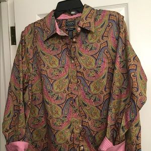 Chaps Classic 1X pink paisley button front NWOT